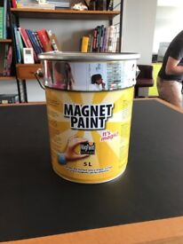 Brand new tin of Magnetic paint 5L dark grey designed to go under any topcoat and any wallpaper