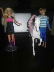 Digital Dress Barbie Light Up Multi Mode Mattel Doll (with free Barbie Horse & Dressed Ken Doll)
