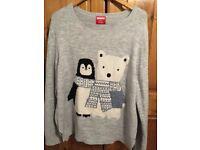 Grey Penguin and Polar Bear Christmas Jumper. Size 20. Good condition