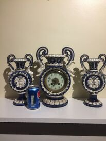 Antique french majolica clock set garniture . C1890!