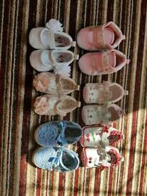 6 pairs of baby shoes 0-3 months and 3-6 months