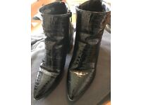Black Ankle Boots, Crocodile Paton look, Ladies Size 6.5