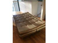 Used Made dot com Vinci gold leather sofa bed, £65