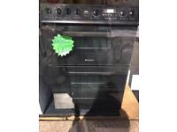 HOTPOINT 50CM CEROMIC TOP ELECTRIC COOKER IN BLACK