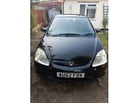 Honda Civic 2002 MOT till June 19, Auto, Sunroof, Heated Seats, Air Con, Immaculate Condition