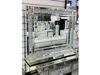 Mokka Crushed Diamond Dresser Mirror BRAND NEW