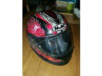 HTC motorcycle helmet, plus boots & gloves