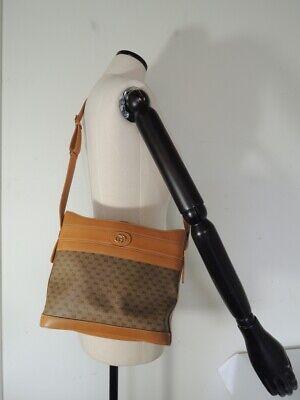 Vintage GUCCI Tan Leather and Canvas Monogram CROSSBODY Shoulder Bag MINT