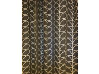 Orla Keilty 'Linear Stem' lined EYELET curtains 88 '' wide x 73 '' drop colour charcoal gray/white