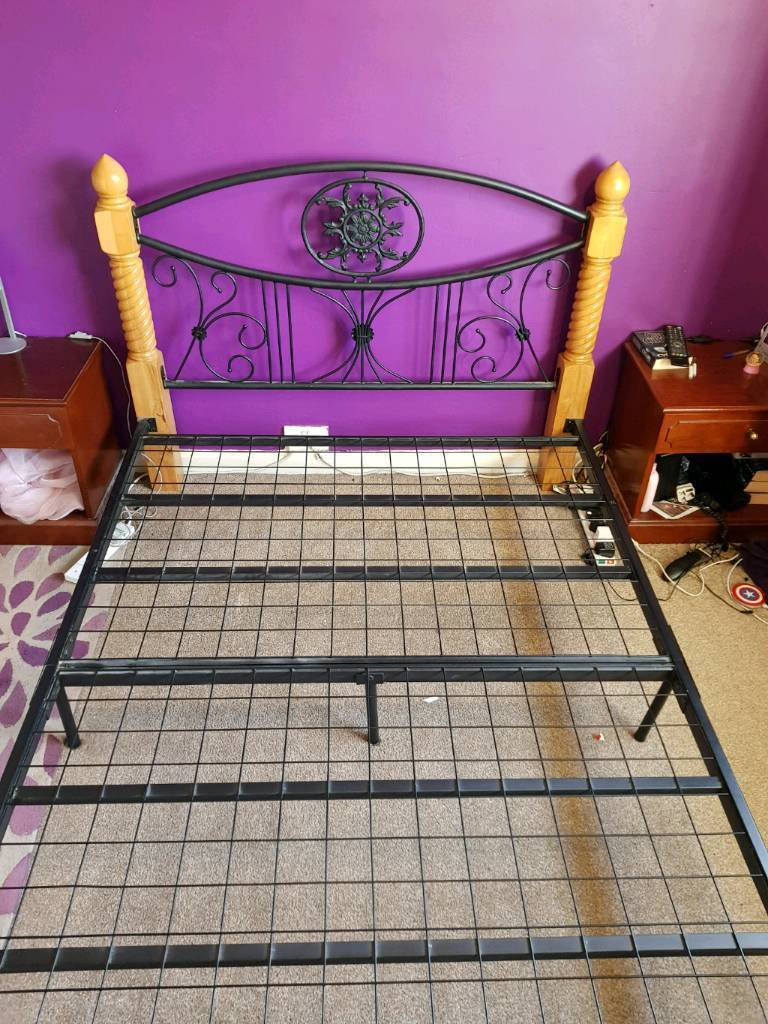 Pine Cast Iron Metal Gothic Double Bed Frame In Newcastle