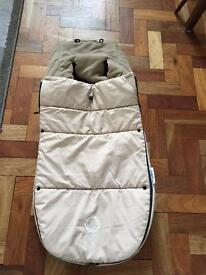 Bugaboo footmuff beige excellent condition velcro