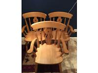Pine fiddle back dining chairs (£150 new)
