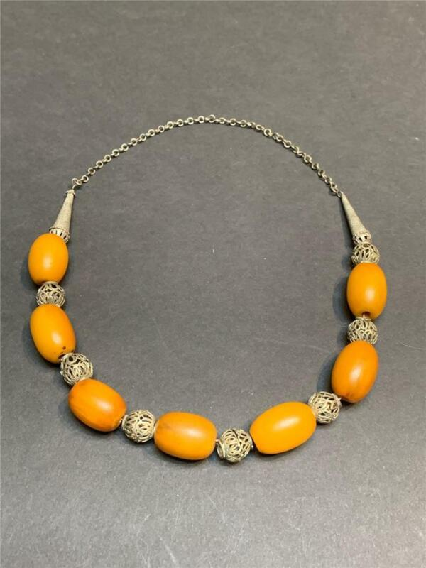 Antique North African Silver and Copal Amber Bead Necklace