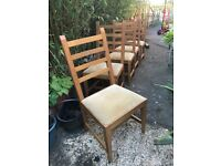 Oak Dining Chairs x 5
