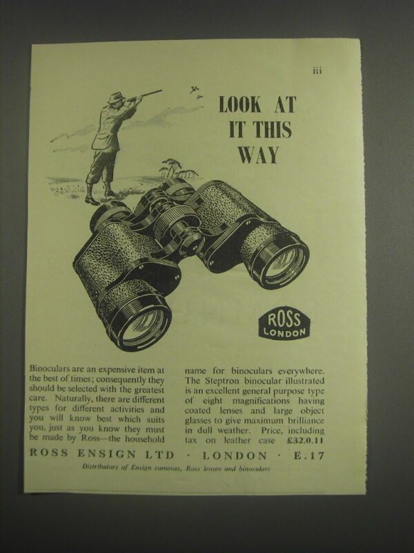 1953 Ross Binoculars Ad - Look at it this way