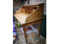 Classic Pine Bureau Desk with Cubbies and Drawers