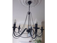2 x Metal/iron style 5-branch chandelier that looks a bit gothic or victorian (some LED bulbs too)