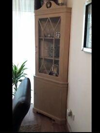 Shabby chic Painted corner display cabinet