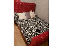 Double Bed Frame Crushed Velvet Red