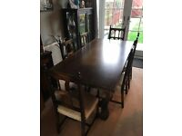 Oak Dinning Table 6ft x 3ft and Six Chairs