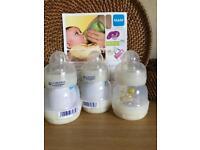 New MAM Baby Feeding Bottles 130ml Set of 3 White Anti Colic