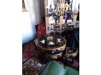 Oriental laquard mother of pearl glass top round coffee table forsale