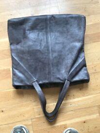 JAS M.B. LONDON Unisex Light grey Leather Hand Made XL Soft Tote Shopper