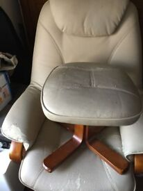 Cream lounge reclining chair and stool