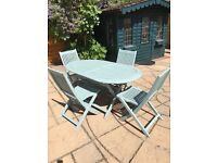 Wooden Garden Oval Table and Four Chairs