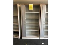 office furniture 2 meter tall white tambour cupboards with shelves and keys