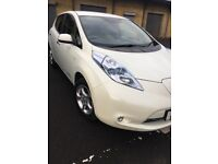 Metallic white electric Nissan Leaf , immaculate condition , leather seats