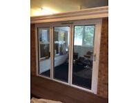 3 panel Aluminium bi folding doors- cream