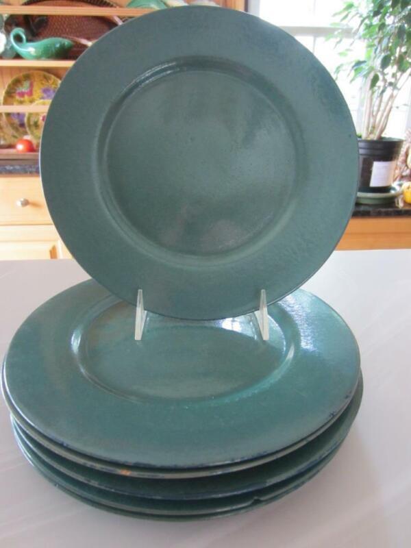 """2 Paul Revere Pottery """"SEG"""" Green Glazed DINNER Plates 10"""" Boston, MA c1920"""