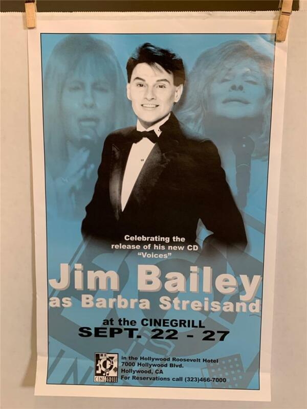 11x17 Poster Jim Bailey as Barbra Streisand Cinegrill Sept 22-27 Hollywood CA