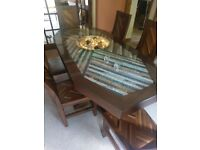 Unique solid dining table and 6 chairs with granite inlay and matching wood veneer