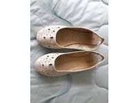 Brand new Barratts flat cream shoes, size 7