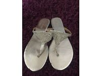 Next silver flip flops size 5