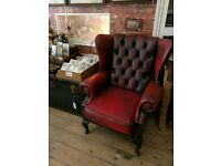 Vintage high back wingback Chesterfield armchair chair fireside oxblood red