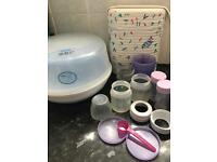 Avent steriliser, Avent bottle worker, 3 Avent bottles and containers