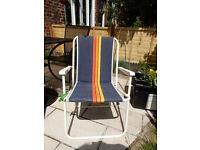 Vintage Camping Campervan Blue Striped Folding Chair VW Festival Retro Stripes Mid Century Design