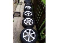 """TOYOTA COROLLA 15"""" ALLOY WHEELS & TYRES X 4 .195/60/15 and x2 spare tyre same size"""