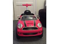 Pink Mini Cooper Push Buggy
