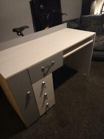 Desk and cabinet