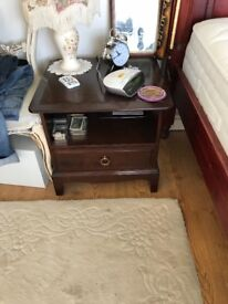 Mahogany Stag bed side units x2, tall chest of draws and dressing table