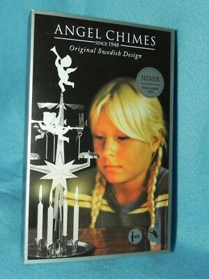 Angel Chimes, Nickel, Original Swedish Christmas Design, Includes 4 Candles, NEW