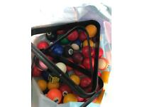 Bag of Pool / Snooker Balls x 2 Sets suitable for 6ft tables and under plus accessories