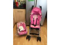 Pink pushchair and car seat for sale, also hello kitty scooter for ages 5+. Collection only