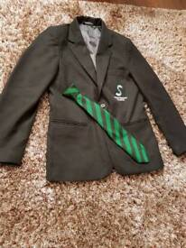 Nearly new Stantonbury Boys blazer size 29 and clip on green tie (Grafton) for sale £15.