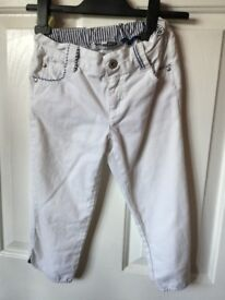 Jasper Conran White 3/4 Length Cropped Jeans. Aged 10 Years Old In Perfect Condition