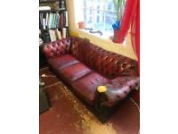3 seater chesterfield oxblood red leather sofa large